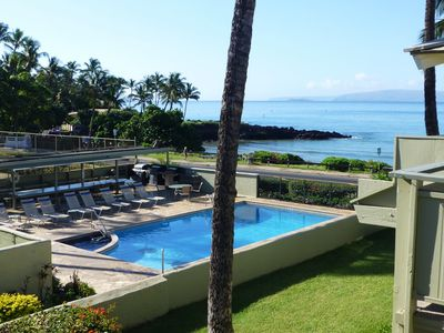 View from lanai with pool, ocean and the island of Kahoolawe beyond