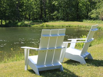Adirondack Chairs by the Pond