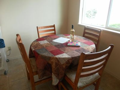 kitchen table with welcome information for all our guests