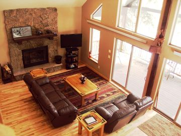 Lead cabin rental - Great Room with wood burning fireplace and tv