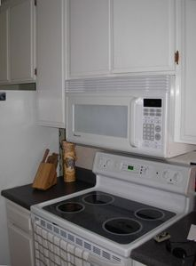 Kitchen with everything you need. New Microwave