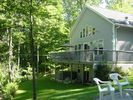 Rear view large deck, grill and out door patio set - Madison chalet vacation rental photo