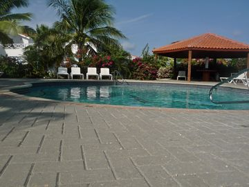 Sparkling pool is steps away - convenient for drinks or watching family