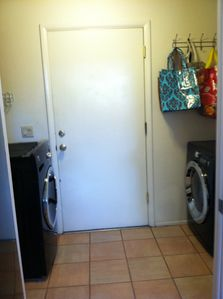 New full size front loading washer and dryer.