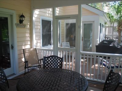 Deck with screened porch, Weber grill- view of 6th fairway of the Links golf