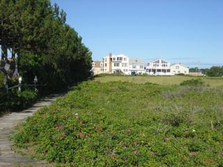 Wells townhome photo - View of our house from the end of our path to the beach. Our house is on left.