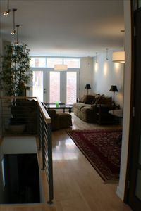Montreal townhome rental - View from Entrance onto Living Room