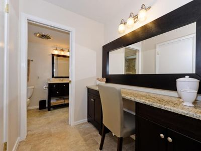 Downstairs granite vanity and dressing area, in master suite