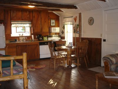 Interior of cabin front room and kitchen area