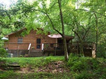 Cabin exterior - side view from kitchen entry and outdoor dining area