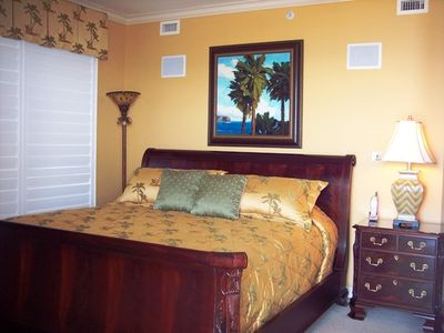 Kingston Plantation condo rental - Master Bedroom with Bedding fit for a King!