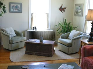 Port Clyde cottage photo - Adjoining seating in Living Room: enjoy views of Port Clyde Village and Harbor