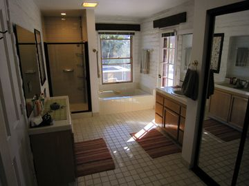 Master bath has oversized soaking tub, separate shower, door to patio and views!