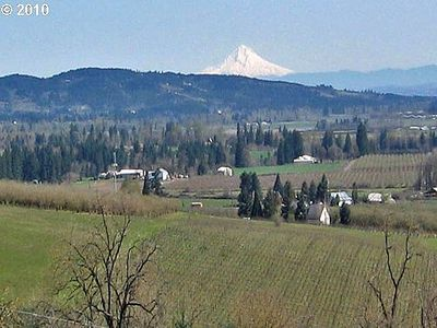 Spectacular views of vineyards, the Willamette Valley and Mt. Hood.