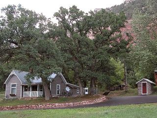 Durango farmhouse photo - Privacy under some of the largest oak trees in the Animas River Valley