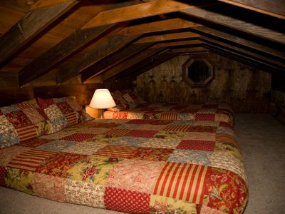 The sleeping loft is a favorite hideaway.