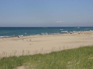 New Buffalo house photo - Gorgeous Lake Michigan sugar sand beach which is directly in front of home.