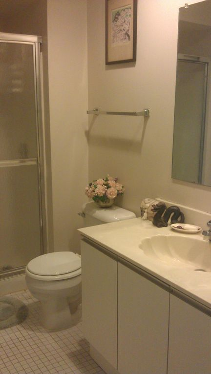 Master bathroom, shower, tub, hair dryer, hair straightener