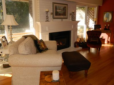 Cozy up next to the fire or enjoy the sunshine pouring through the windows.