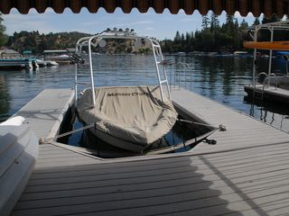 Dock view with kayak and canopy - Lake Arrowhead house vacation rental photo