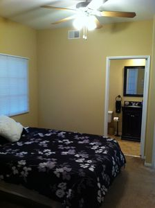 Upstairs Bedroom with raised queen sized air mattress