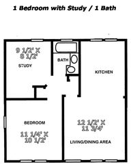 Tuscaloosa condo photo - One Bedroom / One Bath with Study Floorplan