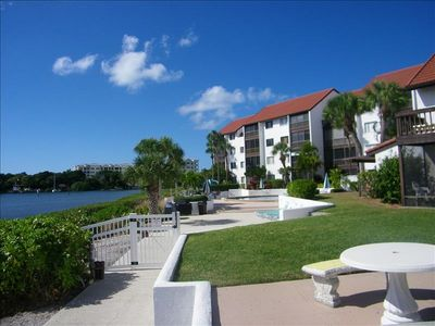 Castel Del Mare backyard of Siesta Key Condo Rental.