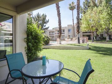 Cathedral City condo rental - Covered Patio - Enjoy your breakfast or a glass of wine on the relaxing shaded patio.