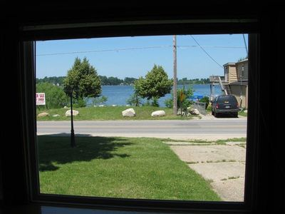 This is the Living Room View of Round Lake which is in the Front as you drive up