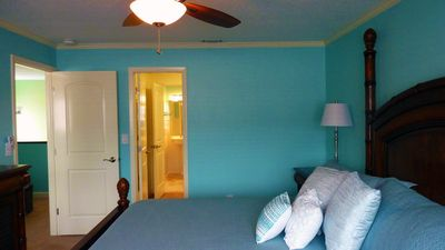 Indian Rocks Beach townhome rental - Master Bedroom looking into the master closet and upstairs bath.
