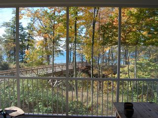 Montague cottage photo - View from screened porch over bridge to Lake Michigan