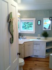 Harpswell cottage photo - Full bath downstairs, complete with shower, tub and view of the water !
