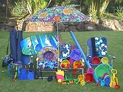 With all this colorful beach equipment, guests have a fabulous time!