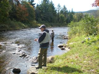 Milan cabin photo - Fishing the Ammonousic River for trout Columbus Day weekend