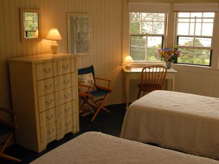 Woods Hole house photo - Upstairs bedroom with twin beds and view of Quissett Harbor.