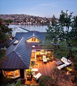 Perched over the water, facing Tiburon and Angel Island. SF Yacht club below.