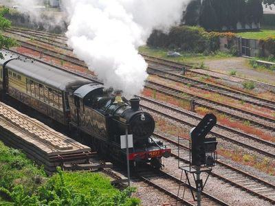 Views over the passing steam train from the Signal Box