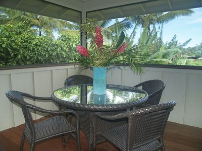 Dinning on the screened in lanai.  There is also a BBQ and lounge seating