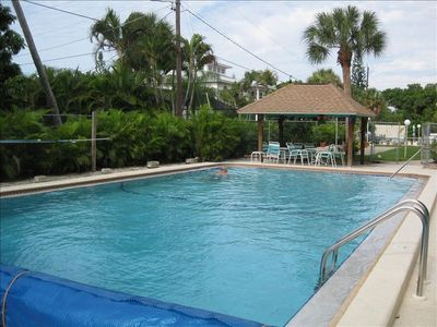Enjoy the heated pool and sun deck.Very secluded.