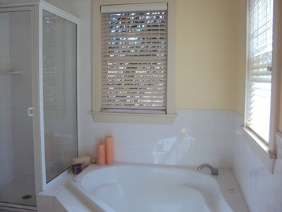 East Hampton house rental - Master bath with Jacuzzi tub and separate shower