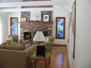 Eastham house photo - Family Room Stained Glass Windows