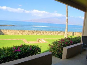 View from the lanai showing the Menehune pond in front.