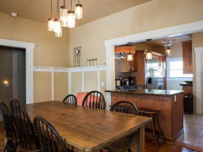 A farm style dining room table...makes a great place to enjoy a meal!