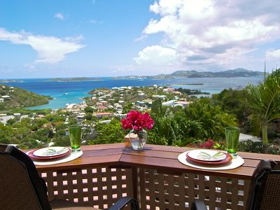 Cruz Bay condo rental - Enjoy amazing views while dining or relaxing on Bliss's private garden terrace