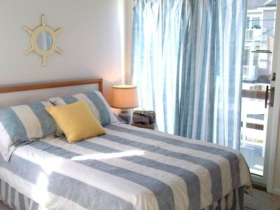 Ocean City South End condo rental - Master back bedroom has slide door to deck