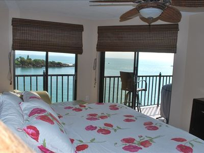 Views of gulf from a comfortable king bed.