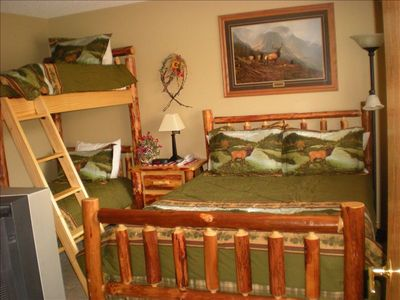 Queen Bed and Bunk Beds on First Level