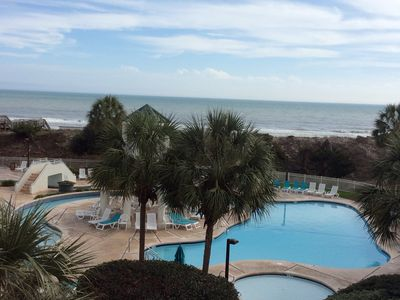View from our balcony of the Ocean, Pool, Kiddie Pool, Hot Tub & Lazy River