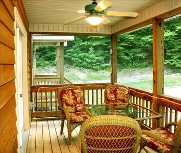 This screen porch is just off the dining room.