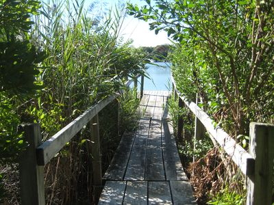 Private walkway to small private dock on salt water inlet - beautiful swans!